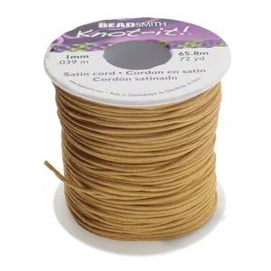 Beadsmith Knot It Rattail Coffee 1mm Satin Braiding Cord 72yd Bulk Spool