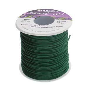 Beadsmith Knot It Dark Green 1mm Satin Braiding Cord 72yd Bulk Spool