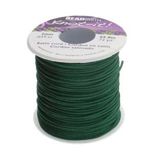 Beadsmith Knot It Dark Green 1mm Satin Braiding Cord 72yd Bulk Spool