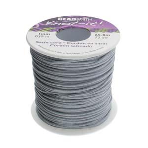 Beadsmith Knot It Dark Grey 1mm Satin Braiding Cord 72yd Bulk Spool