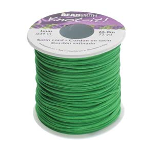 Beadsmith Knot It Emerald 1mm Satin Braiding Cord 72yd Bulk Spool