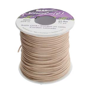 Beadsmith Knot It Ivory (Dark) 1mm Satin Braiding Cord 72yd Bulk Spool