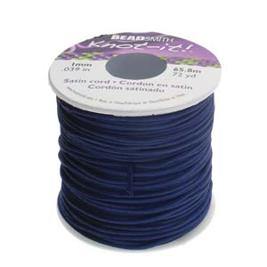 Beadsmith Knot It Navy 1mm Satin Braiding Cord 72yd Bulk Spool