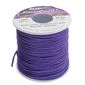 Rattail 1mm Purple (Kumihimo) Satin Braiding Cord 1 metre