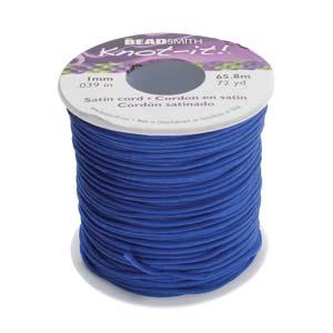 Beadsmith Knot It Royal Blue 1mm Satin Braiding Cord 72yd Bulk Spool