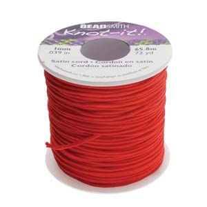 Beadsmith Knot It Red 1mm Satin Braiding Cord 72yd Bulk Spool