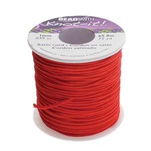 Beadsmith Knot It Red 1mm Satin Braiding Cord 72yd Bulk Spool