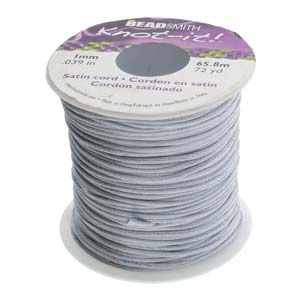 Beadsmith Knot It Silver 1mm Satin Braiding Cord 72yd Bulk Spool