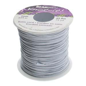 Beadsmith Knot It Silver 1mm Satin Braiding Cord 72yd Bulk Spool
