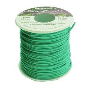 Rattail 1mm Turquoise Green (Kumihimo) Satin Braiding Cord 1 metre