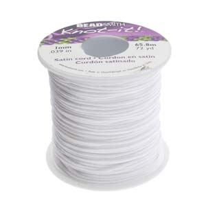 Beadsmith Knot It White 1mm Satin Braiding Cord 72yd Bulk Spool