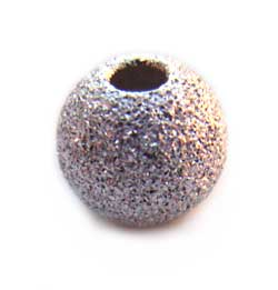 Sterling Silver Beads - 4mm Round Stardust Bead x1
