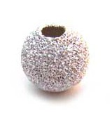 Sterling Silver Beads - 7mm Round Stardust Bead x1
