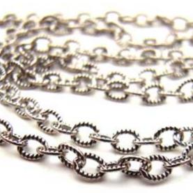 Sterling Silver Chain 3x2mm Oval Link Oxidised - per foot (30cm)