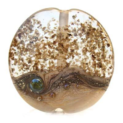 Snow Scape - Ian Williams Handmade Artisan Glass Lampwork Pendant Bead x1