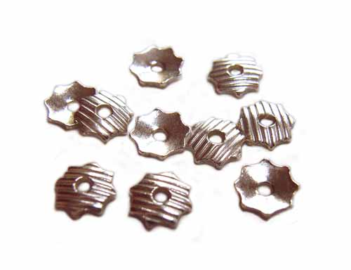 Sterling Silver Line Pattern Flower Bead Cap 4mm x10