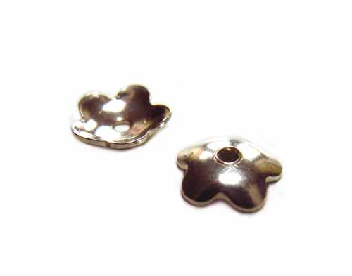 Sterling Silver Plain Shiny Flower Bead Cap 5mm x2