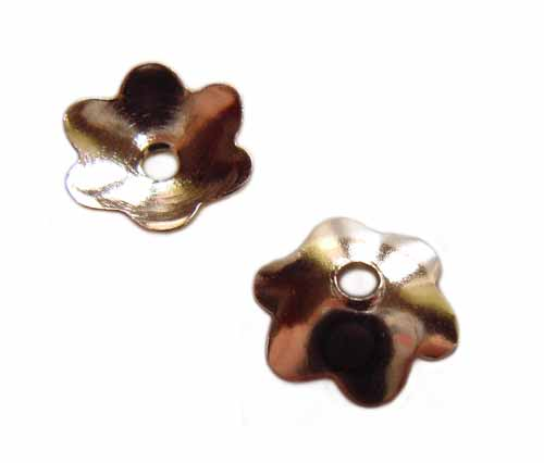 Sterling Silver Plain Shiny Flower Bead Cap 6mm x2