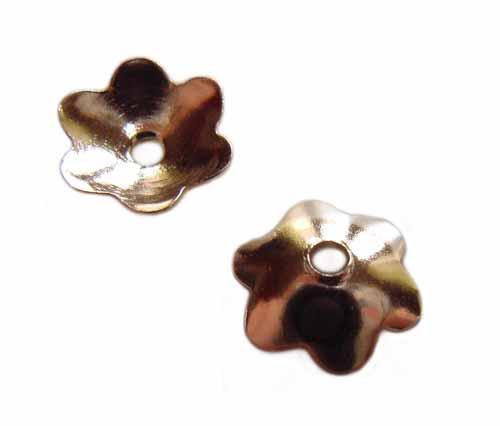 Sterling Silver Plain Shiny Flower Bead Cap 6mm x2