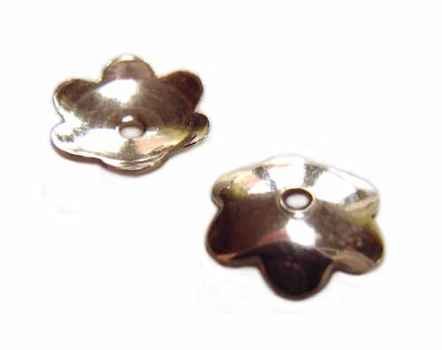 Sterling Silver Plain Shiny Flower Bead Cap 7mm x2