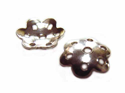 Sterling Silver Hole Flower Bead Cap 7mm x2