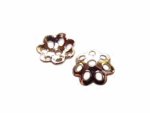 Sterling Silver Hole Flower Bead Cap 4.7mm x2