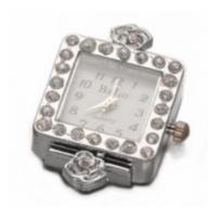 Boer Square Watch Face for Beading Silver Rhinestone Crystals Clear (D02)