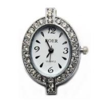 Boer Oval Watch Face for Beading Silver Rhinestone Crystals Clear (D03)
