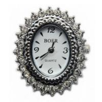 Boer Scalloped Oval Watch Face for Beading Silver Rhinestone Crystals Clear (D05)
