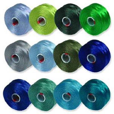 S-Lon, Super Lon Size D Thread Mix 2 blues/greens