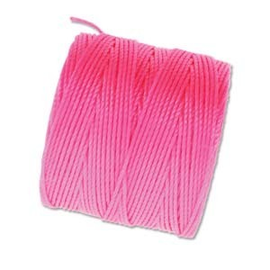 S-Lon, Superlon Tex 210, 0.5mm Bead Cord Neon Pink