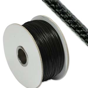 Faux Snake Skin Leather Round Cord 1mm - Black per metre