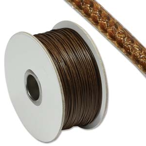 Faux Snake Skin Leather Round Cord 1mm - Brown per metre