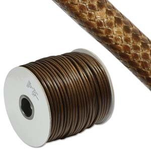 Faux Snake Skin Leather Round Cord 3mm - Brown per metre