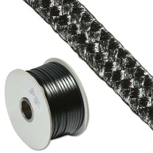 Faux Snake Skin Leather Flat Cord 3mm - Black per metre