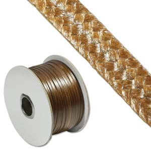 Faux Snake Skin Leather Flat Cord 3mm - Brown per metre