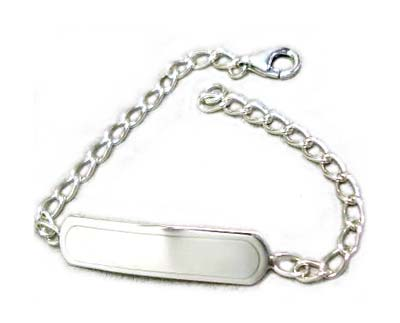"Sterling Silver Chain Baby Bracelet, 5.5"" (14cm) (Stamping Blank ID)"