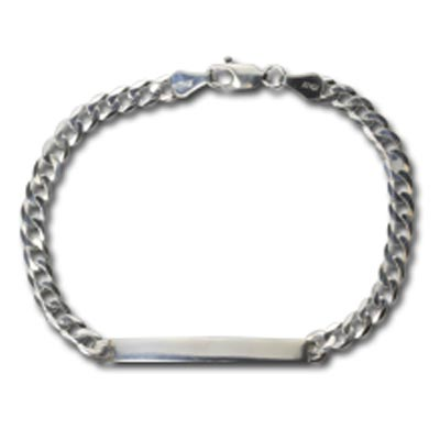 "Sterling Silver Heavy Curb Bracelet with Lobster Claw, 7.5"" (19.5cm) (Stamping Blank ID)  4.4x42mm slightly curved stamping blank"