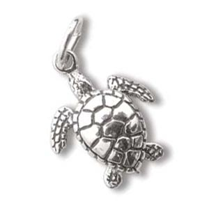 Sterling Silver Charms - 17.3x13.4mm Sea Turtle Charm x1