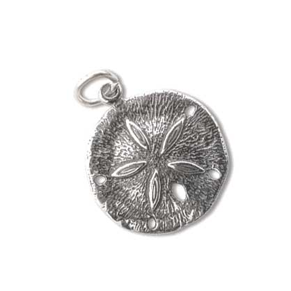 Sterling Silver Charms - 18x20.5mm Sand Dollar Charm x1
