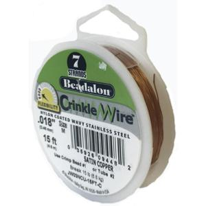 Beadalon Stringing Wire 7 Strands .015 (.38mm) 15 ft/4.6m Crinkle Satin Copper