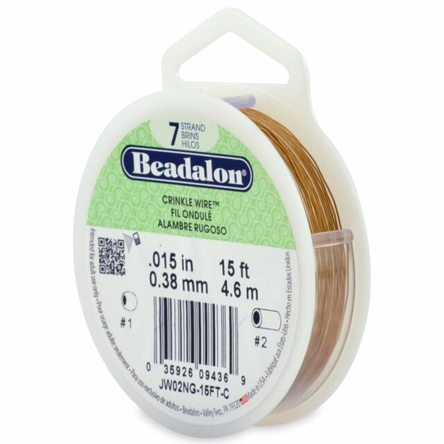 Beadalon Stringing Wire 7 Strands .015 (.38mm) 15 ft/4.6m Crinkle Satin Gold