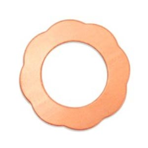Copper Scalloped Washer (1 1/8 inch),  28mm od, 17.5mm id, 24ga x1