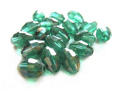 Firepolished Glass Olive Beads 8x6mm Seagreen Ab Lustre (72pc approx)