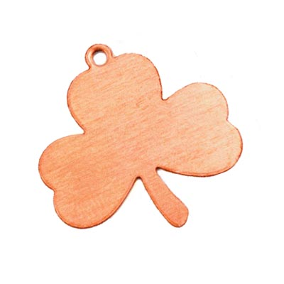 Copper Metal Stamping Blank, (1 inch) 23x33mm Shamrock Lucky Leaf Clover 24ga x1