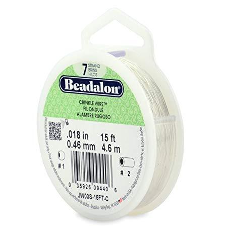 Beadalon Stringing Wire 7 Strands .015 (.38mm) 15 ft/4.6m Crinkle Silver