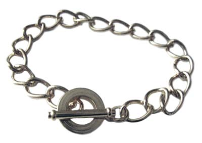 Silver Plated Charm Bracelet with Toggle