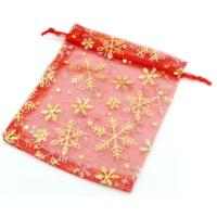 Organza Drawstring Pouches ~ Gold Snowflake on Red (6x5) 160x120mm x10pc