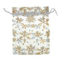 Organza Drawstring Pouches ~ Gold Snowflake on White (6x5) 160x120mm x10pc