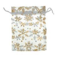 Organza Drawstring Pouches ~ Gold Snowflake on White (6x5) 160x120mm x10pc